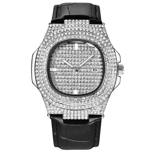 LEATHER WATCH WHITE GOLD 18K DIAMOND QUARTZ