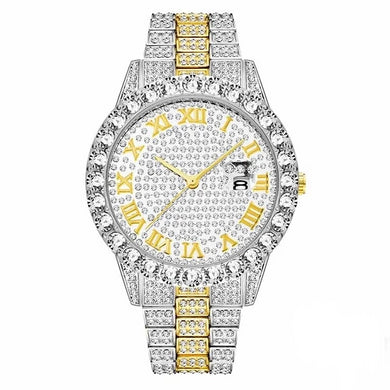 LUXURY WATCH GOLD & WHITE GOLD 18K FULL DIAMOND QUARTZ