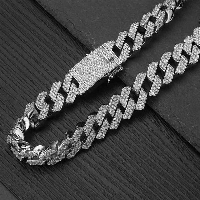 PRONG CUBAN CHAIN ICED OUT WHITE GOLD 24K