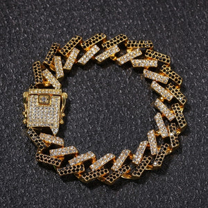PRONG CHAIN & BRACELET BLACK BUNDLE -  GOLD 18K (15MM)
