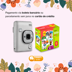 Combo Fujifilm Instax Mini LiPlay Stone White + Kit Filme Instax Mini 60 Fotos