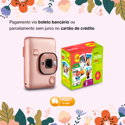 Combo Fujifilm Instax Mini LiPlay Blush Gold+ Kit Filme Instax Mini 60 Fotos