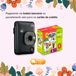 Combo Fujifilm Instax Mini LiPlay Dark Gray+ Kit Filme Instax Mini 60 Fotos