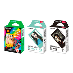 Combo | Filme Fujifilm Instax Colors Mini Rainbow, Black e Sky Blue 30 Fotos