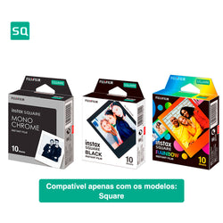 Combo Filme Fujifilm Instax Square Rainbow 10 fotos + Square Black com 10 Fotos + Square Monochorme 10 fotos
