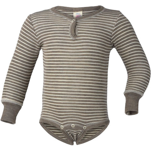 Engel Natur Organic Wool/Silk Striped LS Onesie
