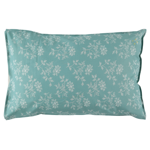 Camomile London Hanako Floral Light Teal Standard Pillow Case