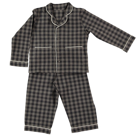 Camomile London Charcoal/Grey Gingham Check Pajamas