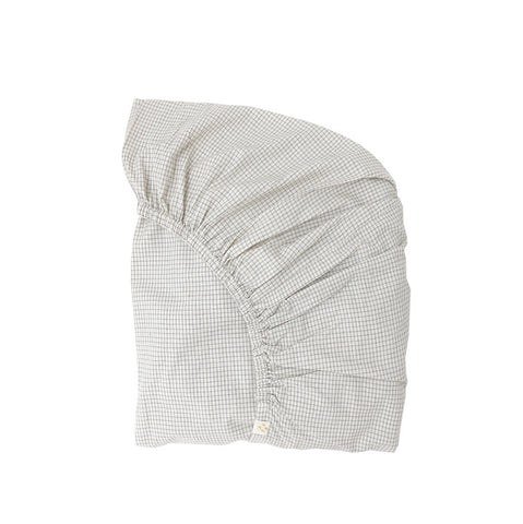 Camomile London Ivory/Grey Double Check Fitted Sheet
