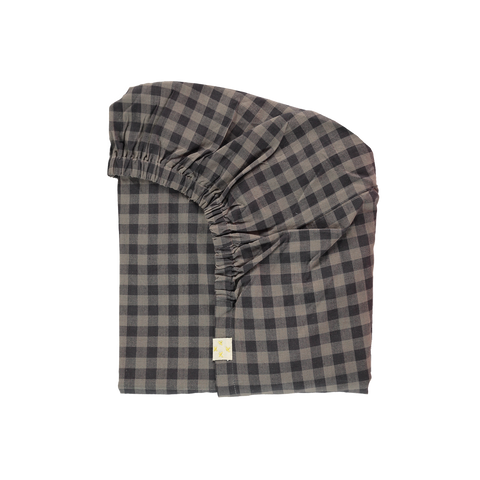 Camomile London Charcoal/Grey Gingham Fitted Sheet