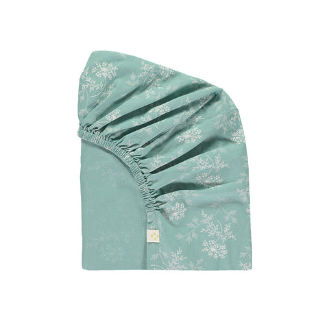 Camomile London light teal Hanako Floral fitted sheet