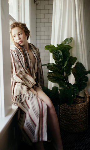 Odd Bird Alem Handwoven Linen Adult Robe