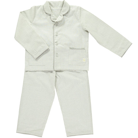 Camomile London Ivory/Grey Double Check Pajamas