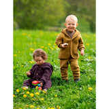 Engel Natur hooded wool jacket with wooden buttons