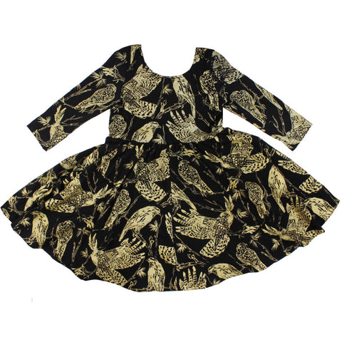 Thief and Bandit Gold on Black Birds of Prey Twirl Dress