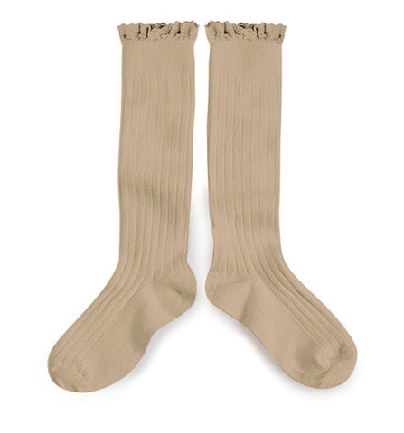 Collégien Cotton Lace Trim Knee High Socks