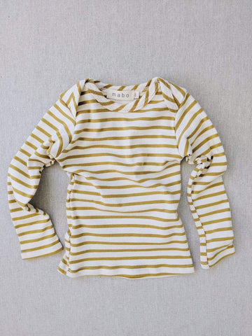 Mabo Organic Striped Nautical Tee Natural/Chartreuse