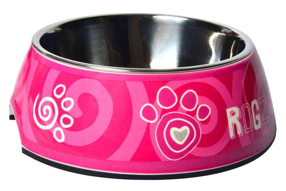 Rogz 2-in-1 Small 160ml Bubble Dog Bowl, Pink Paw Design