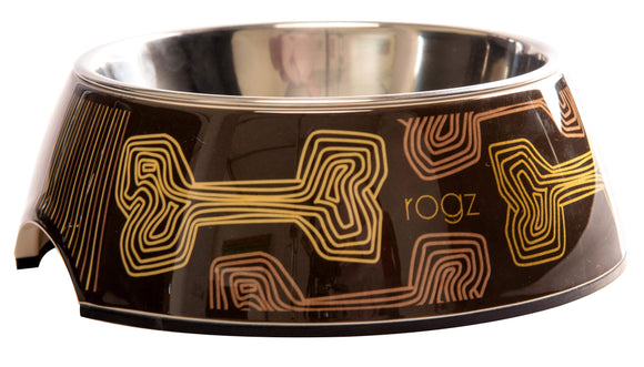 Rogz 2-in-1 Small 160ml Bubble Dog Bowl, Mocha Bone Design