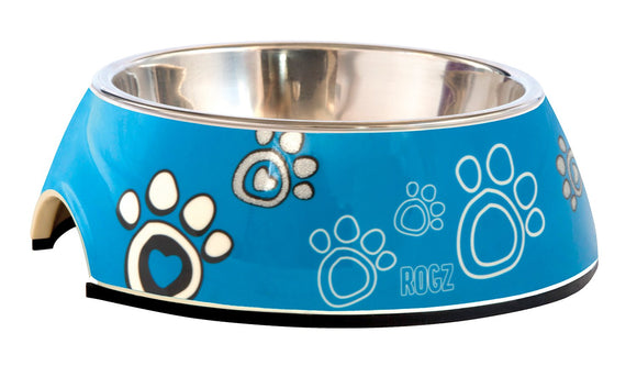 Rogz 2-in-1 Small 160ml Bubble Dog Bowl, Turquoise Paw Design