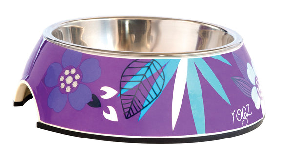 Rogz 2-in-1 Small 160ml Bubble Dog Bowl, Purple Forest Design