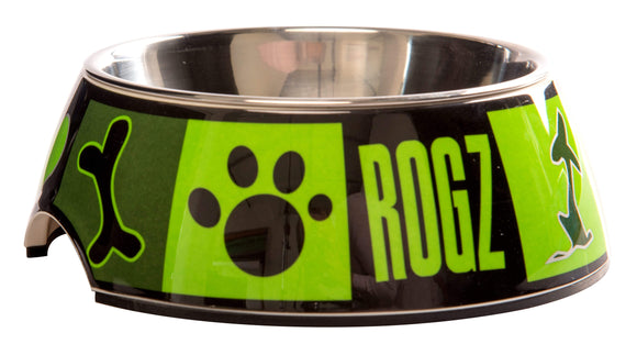 Rogz 2-in-1 Medium 350ml Bubble Dog Bowl, Lime Juice Design
