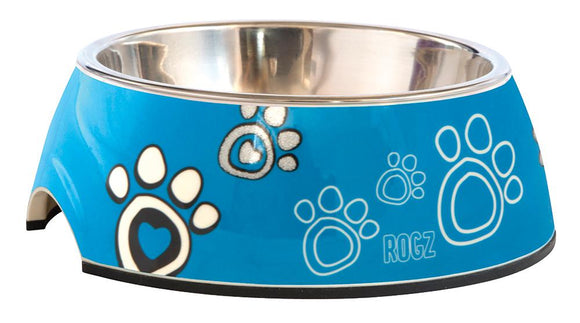 Rogz 2-in-1 Medium 350ml Bubble Dog Bowl, Turquoise Paw Design