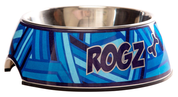 Rogz 2-in-1 Large 700ml Bubble Dog Bowl,Navy Zen Design