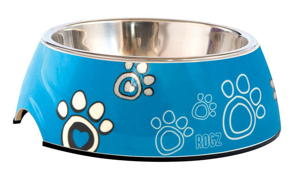 Rogz 2-in-1 Large 700ml Bubble Dog Bowl, Turquoise Paw Design