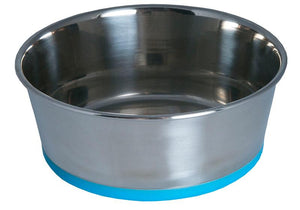 Rogz Stainless Steel Medium 1050ml Slurp Dog Bowl, Blue Base