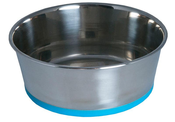 Rogz Stainless Steel Small 550ml Slurp Dog Bowl, Blue Base