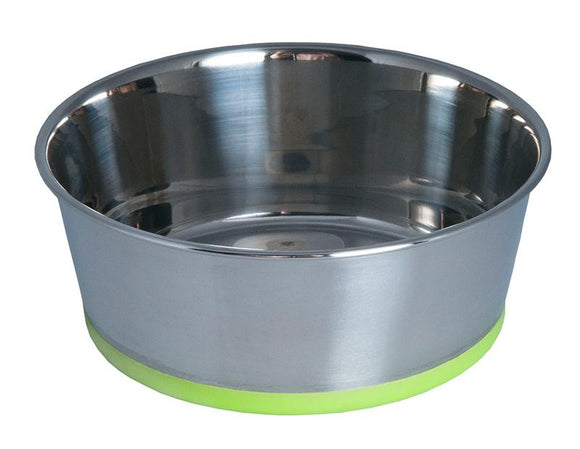 Rogz Stainless Steel Medium 1050ml Slurp Dog Bowl, Lime Base
