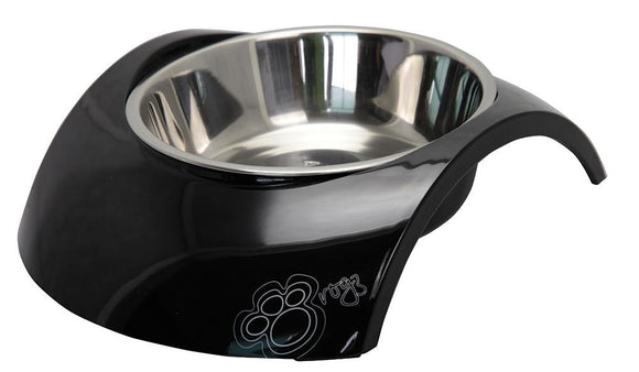 Rogz 2-in-1 Small 160ml Luna Dog Bowl, Black