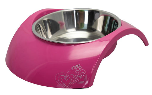 Rogz 2-in-1 Large 700ml Luna Dog Bowl, Pink
