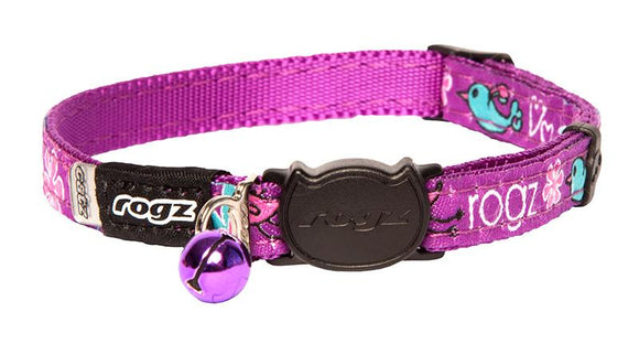 Rogz Catz FancyCat 11mm Safeloc Breakaway Cat Collar, Purple Lovebirds Design