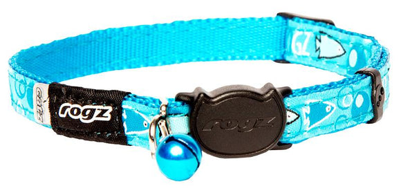 Rogz Catz FancyCat 11mm Safeloc Breakaway Cat Collar, Turquoise Bubble Fish Design