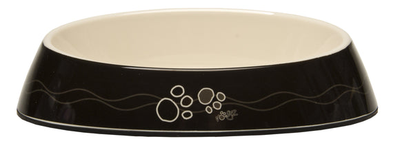 Rogz Catz Bowlz 200ml Fishcake Cat Bowl, Black Paws Design