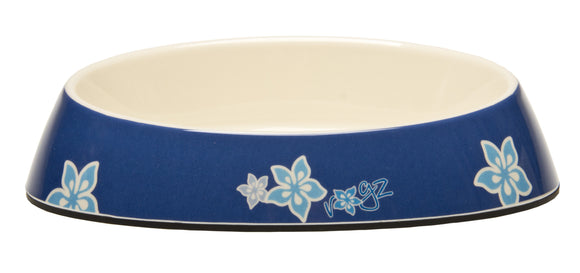 Rogz Catz Bowlz 200ml Fishcake Cat Bowl, Blue Floral Design