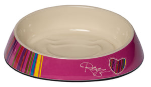 Rogz Catz Bowlz 200ml Fishcake Cat Bowl, Pink CandyStripes Design