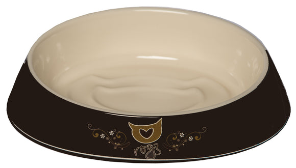 Rogz Catz Bowlz 200ml Fishcake Cat Bowl, Bronze Filigree Design