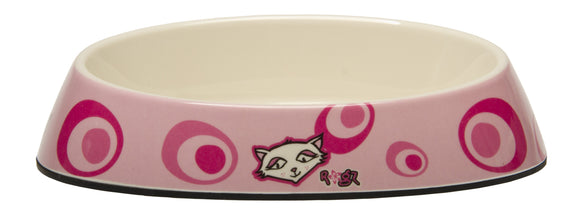 Rogz Catz Bowlz 200ml Fishcake Cat Bowl, Pink Floral Design
