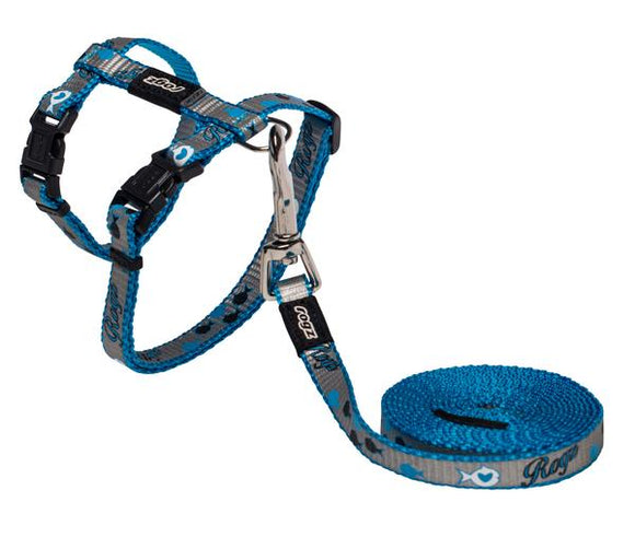 Rogz Catz ReflectoCat 11mm Small Reflective Cat H-Harness and Lead Combination, Blue Fish Design