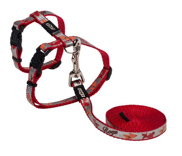 Rogz Catz ReflectoCat 11mm Small Reflective Cat H-Harness and Lead Combination, Red Fish Design