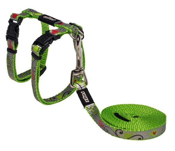 Rogz Catz ReflectoCat 11mm Small Reflective Cat H-Harness and Lead Combination, Lime Fish Design