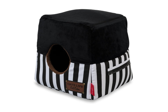 Cat's Life Cat Cube Stripe Black (Medium)