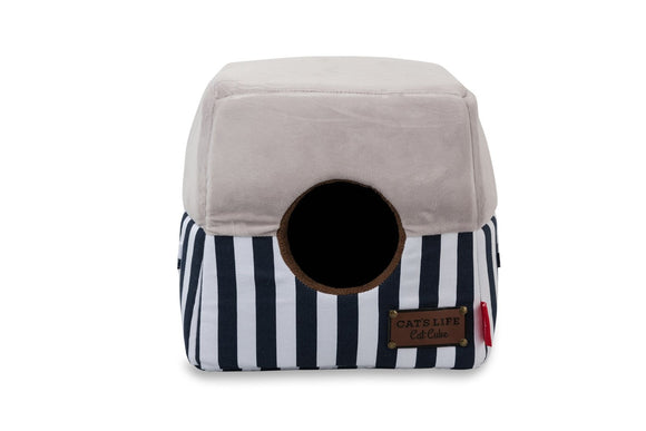 Cat's Life Cat Cube Stripe Navy (Medium)