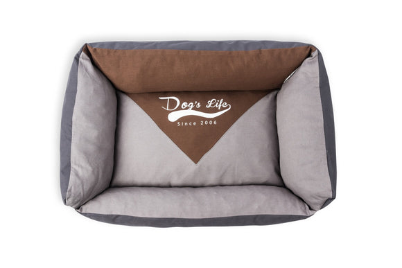 Dog's Life Vintage Lounger Waterproof Summer Bed Grey (Medium)
