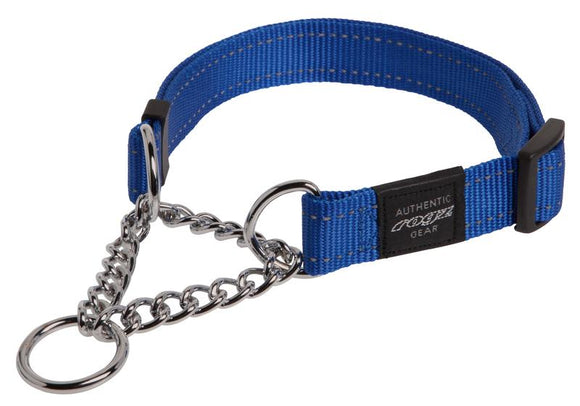 Rogz Utility Extra Large 25mm Lumberjack Obedience Half-Check Dog Collar, Blue Reflective