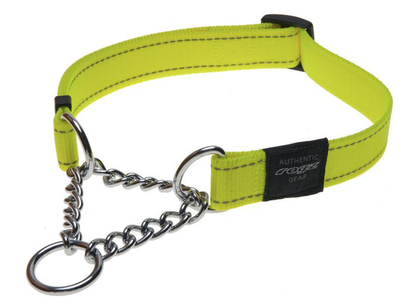 Rogz Utility Extra Large 25mm Lumberjack Obedience Half-Check Dog Collar, Dayglo Yellow Reflective