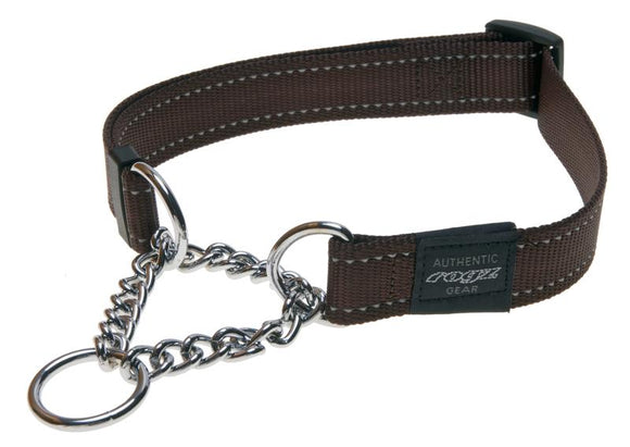 Rogz Utility Extra Large 25mm Lumberjack Obedience Half-Check Dog Collar, Chocolate Reflective